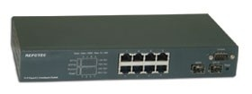 Repotec SNMP Switch 8x10/ 100/ 1000+2xSFP, VLAN
